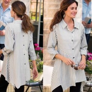 Soft Surroundings Striped Standout Tunic Top PS